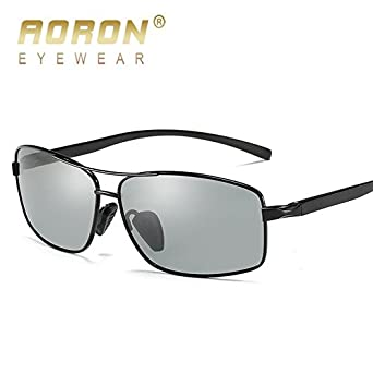 1ac56be61c7 2018 AORON Photochromic Sunglasses Men Polarized Discoloration HD Goggles  Male Anti Glare Driving Glasses Brand Design Eyewear  Amazon.in  Clothing    ...