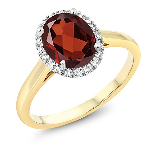 Gem Stone King 10K 2-Tone Gold Oval Red Garnet and Diamond Halo Engagement Ring 1.80 Ct (Size 7)