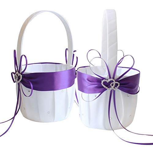 - Awtlife 2PCS Purple Flower Girl Basket Double Heart Rhinestone Elegant for Wedding Ceremony Party Favor