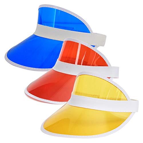 Surkat 3 Pack Plastics Multicolored Sun Visors UV Protection Hat Cap Headwear for Golf Tennis Cycle