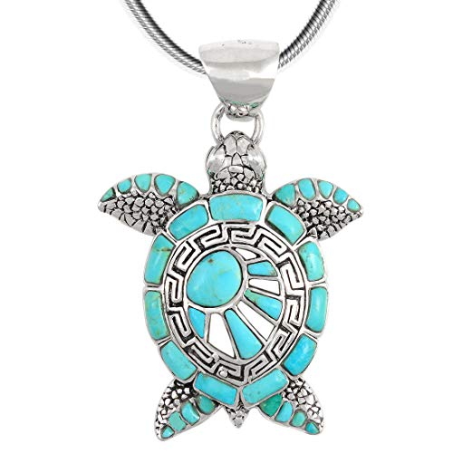 Turtle Pendant Necklace 925 Sterling Silver Genuine Turquoise (20
