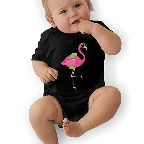 Flamingo Clipart Border Baby Clothes Newborn Girls Short-Sleeve Romper Bodysuit Rompers Black