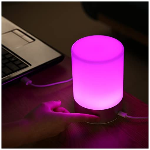 AUKEY Lampada da Comodino Ricaricabile con 3 Luminosità di Luce Calda e Luce Muliticolore Regolabile RGB Lampada Notturna con Panello di Controllo Tattile a 360 Gradi per Casa o Ufficio