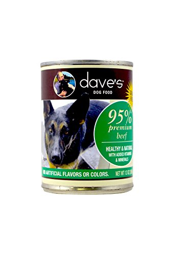 Dave's Pet Food 95% Premium Meats Canned Dog Food Beef Recipe (12 Cans Per Case), 13.2 oz