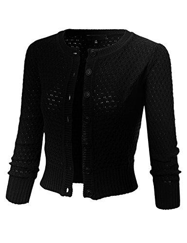 ARC Studio Womens Button Down 3/4 Sleeve Crewneck Cropped Knit Cardigan Crochet Sweater L Black