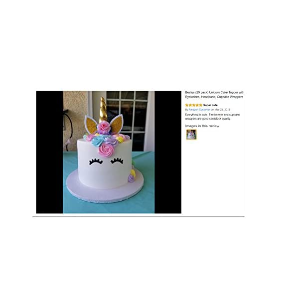 Bestus (29 Pack) Unicorn Cake Topper with Eyelashes, Headband, Cupcake Wrappers and Happy Birthday Banner. / Unicorn… 9