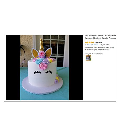 Bestus (29 pack) Unicorn Cake Topper with Eyelashes, Headband, Cupcake Wrappers and Happy Birthday Banner./Unicorn Party Supplies,for Birthday Party, Baby Shower, Kids Party Decoration by Bestus (Image #6)