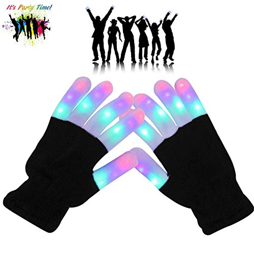 Fairytaloid LED Gloves Finger Lights 3 Colors 6 Modes Flashing Rave Gloves for Birthday Light Party Christmas Xmas Dance Best Great Gifts