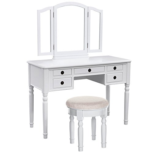 Great Deal! SONGMICS Vanity Set w/ Stool and Folding Mirror Make-up Dressing Table, 3 Mirrors 5 Draw...