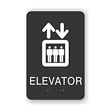 amazon com ada elevator sign with braille 6x9 black office