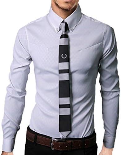 メンズ シャツ 長袖 ワイシャツ カッターシャツ ボタンダウン ビジネス ドレスシャツ シンプル フォーマル 格子 ワイシャツ 通勤 形態安定 かっこいい イケメン 大きいサイズ ホワイト M