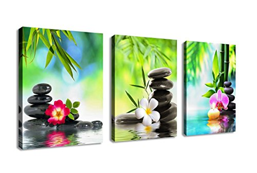 Wall Art Canvas Zen Art Decor SPA Stone Green Bamboo Pink Waterlily And  Frangipani Pictures