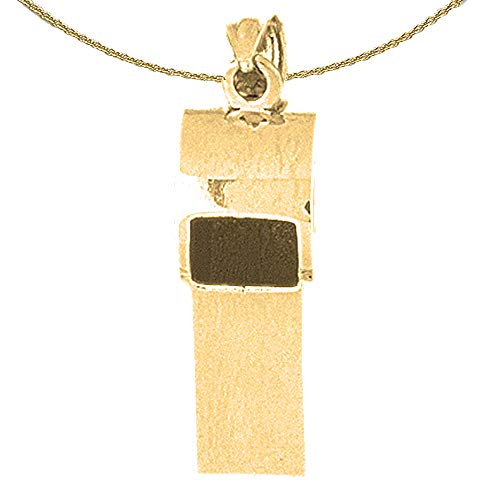 Jewels Obsession Solid 14K Yellow Gold 3D Whistle Pendant with 24