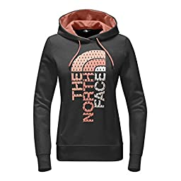 The North Face Women\'s Trivert Pullover Hoodie TNF Dark Grey Heather/Burnt Coral Multi L
