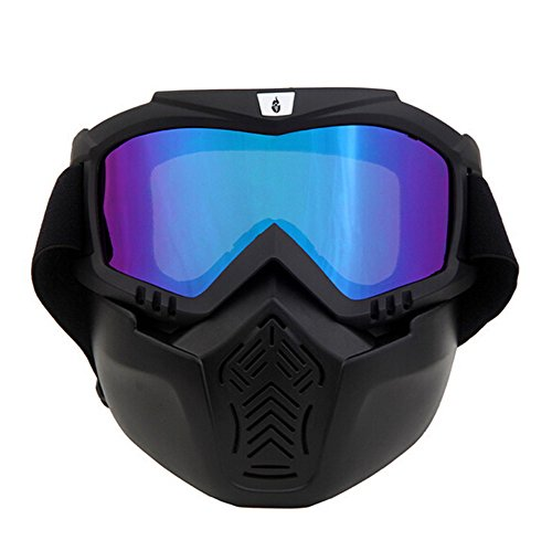 ThyWay Anti-Fog Windproof Motorcycle Goggles Riding Detachable Modular Face Mask Shield Goggles - Protect Padding Mouth Filter for Motorcycle Helmet