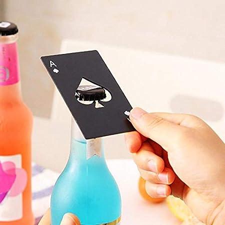 Sacacorchos abrebotellas de acero inoxidable negro con forma de tarjeta de póquer cerveza botella de vino abrebotellas personalizado creativo BarTool regalo abrebotellas