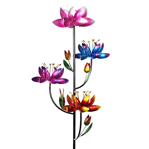 Flower Yard Decor - Exhart Quadruple Lotus Flower Wind Spinners Garden Stake in Bronze - 4 Metallic Flower Spinners in Colorful Red, Purple and Pink Metal Design Spin - Yard Art Décor, 20 by 92 Inches