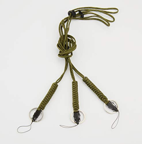 Handmade ID Badge Sturdy Paracord Lanyard with Buckle & Keyring, Used for Mobile Phone, Keys, Waterproof Case, Camera etc. 23.6 Inch Adjustable Webbing Lanyard[3 Pack ] (Olive 3pcs)
