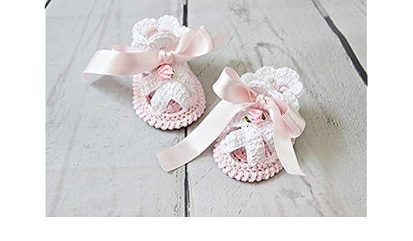 NEWBORN BABY GIRLS SHOES BOOTIES SANDALS HANDMADE CROCHET PINK GIFT IDEA 0-3m