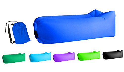 Jsutyer Inflatable Lounger Portable Air Couch, Air Sofa Bag, Indoor or Outdoor Inflatable Chair, Ideal for Child, Inflatable Lounge for Camping Beach Park and Backyard (Dark-Blue)