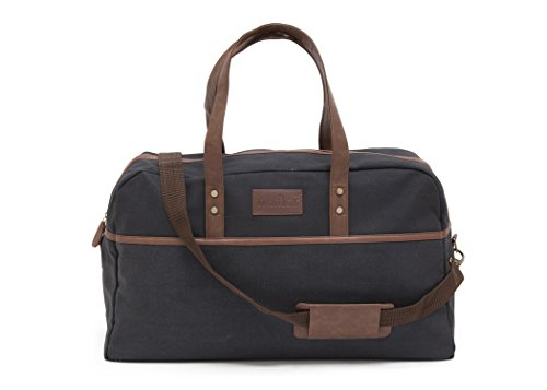 Maika Duffel Bag (Waxed Black) (Recycled Weekend Bag)