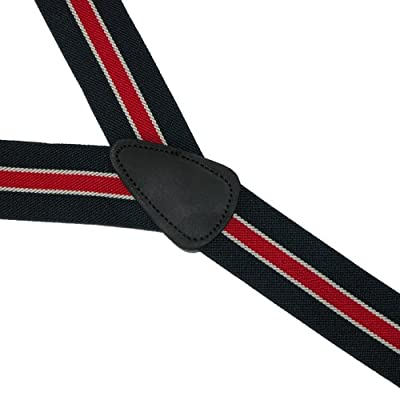 CTM Men's Elastic Button-End Nautical Stripe Suspenders (Tall Available)