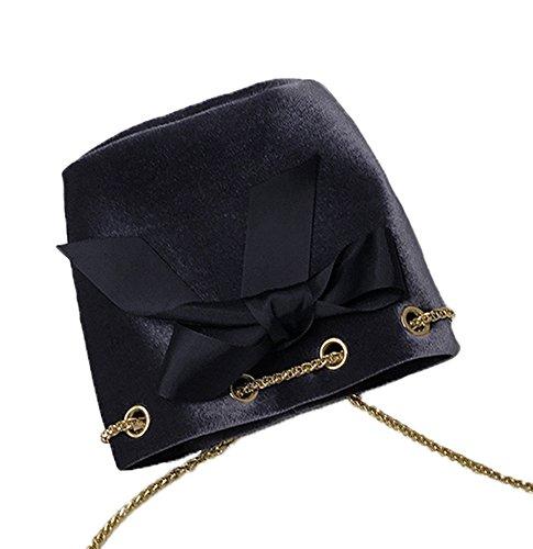 Velvet Women Messenger Red Bag Black Casual MINGMO For Bucket Bag Bowknot Shoulder fwxAO