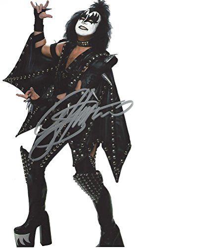 GENE SIMMONS - Known as 'THE DEMON' is BASS GUITARIST and CO-LEAD VOCALIST for KISS - Signed 8x10 Color Photo