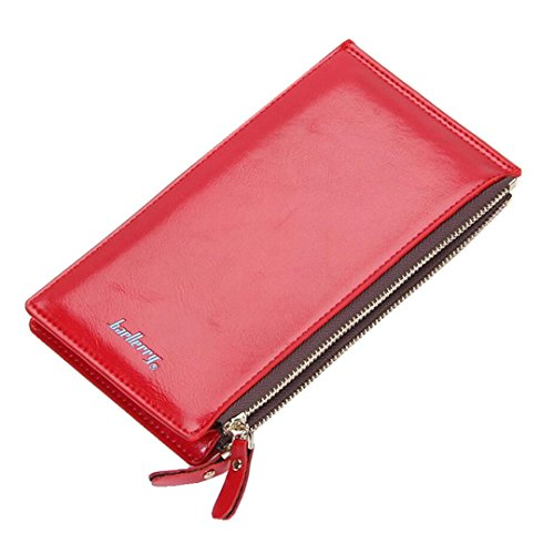Long Fold Wallet for Women Oil Wax Leather Purse Slim Thin Card Organizer Phone Clutch Wallet with Zipper Pocket (Red)