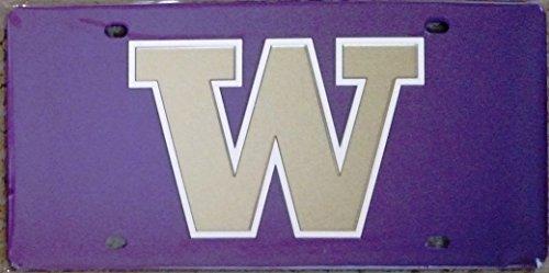 Washington Huskies Purple SD88205 Deluxe Laser Cut Mirrored License Plate Tag University of