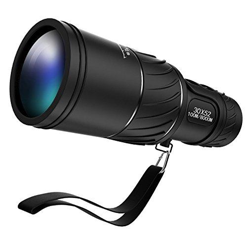 Ipekoo Tragbare 30x52 Fernglas, Zoom Monocular-Teleskop, Green Film Objektiv Optischer Prism Tagesnachtsicht-100M / 8000M , Einstellbare Monokular Telescope für Golf, Camping, Wandern, Angeln, Vogelbeobachtung, Konzerte