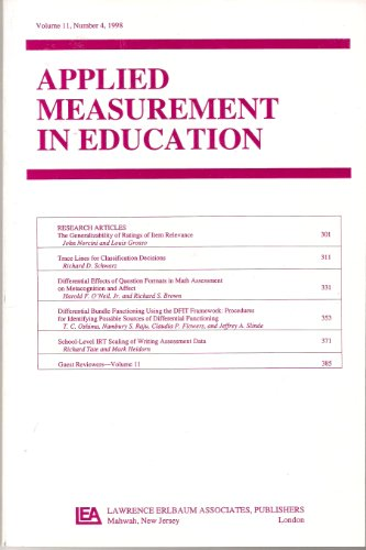 Applied Measurement in Education (The Generalizability of Ratings of Item - Jeffrey Neil O