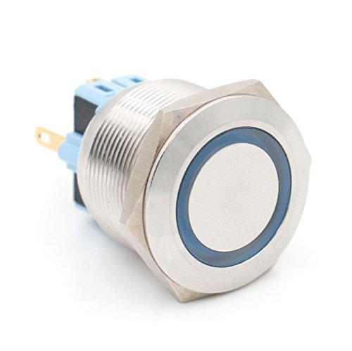 Baomain Push Button Switch 5A/250VAC 25mm Eagle Eye ring LED Blue AC 110V Latching 6 pin terminal