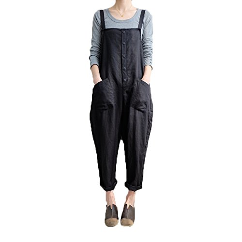 Celmia Women's Strappy Jumpsuits Overalls Casual Harem Pants Wide Leg Low Crotch Loose Trousers Black XL