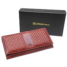 RFID Wallet Ladies Weave Clutch - RFID Blocking Ladies Wallet - RFID Secure Wallets Stop Electronic Pickpocketing (Red)