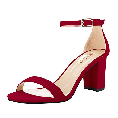 Eunicer Women's Single Band Classic Chunky Block High Heel Sandals with Ankle Strap Dress Shoes -
