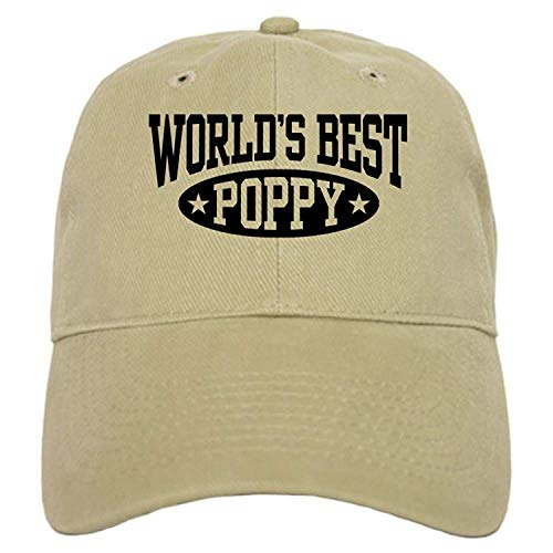 Scrub Hat Poppy - World's Best Poppy - Baseball Cap with Adjustable Closure, Unique Printed Baseball Hat