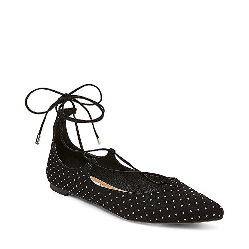 Steve Madden Womens Lecrew-S Pointed Toe Ghillie Flat Shoe Black Studs PtLNsWce