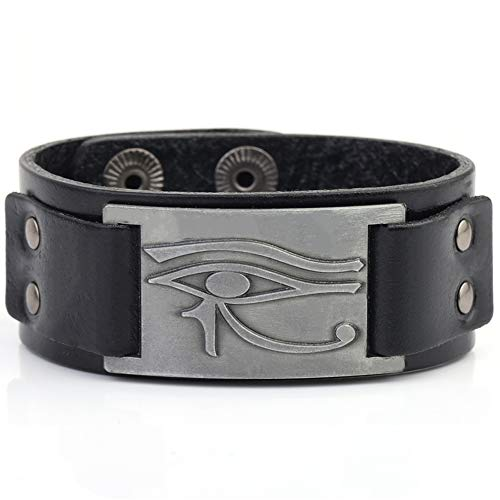 My Shape Eye of Horus Ra Thoth Udjat Leather Cuff Bracelet Egyptian Amulet Pagan Jewelry (Antique Silver,Black)