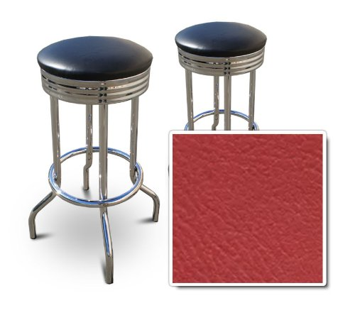 The Furniture Cove 2 RedVinyl Custom Specialty Swivel Chrome 24