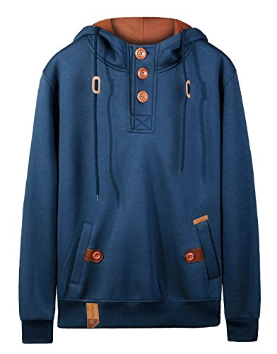 Tyhengta Men's Casual Hoodies Fleece Slim Fit Hooded Sweatshirts