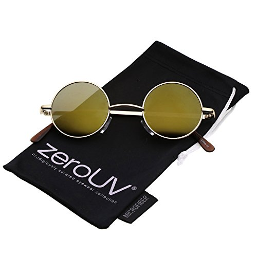 zeroUV - Small Retro Lennon Inspired Style Colored Mirror Lens Round Metal Sunglasses 41mm (Gold / Gold - Small Lens