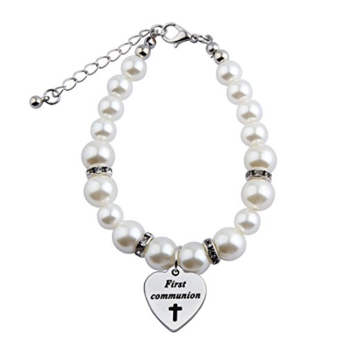 ion Gift for Girls First Holy Communion Bracelet Pearl Bracelet with Cross for First Communion Baptism Jewelry Christening Gift (Silver) ()