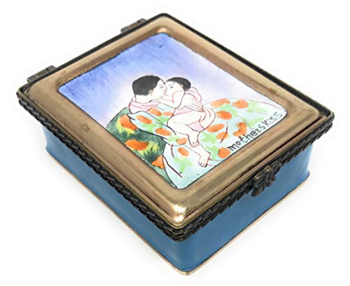 Kelvin Chen Cassatt's Mother's Kiss Enameled Jewelry Box, Hinged Lid with 3 Sections 3.25 Inches Long ()