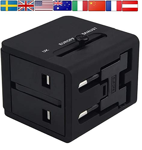 Travel Adapter Worldwide All-in-One Universal Plug AC Power International Adapter with Dual Fast Charging USB Ports for European to USA EU UK AUS Italy India Sweden LG Laptop Kindle Mac Book by Dana BG
