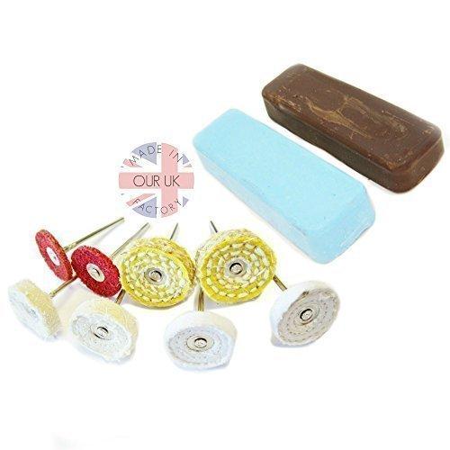Perfect for polishing Alloy wheels Moleroda ALUMINIUM METAL POLISHING KIT 16 with compound felts /& mandrel