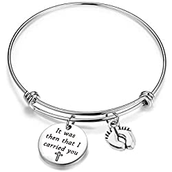 BNQL It was Then That I Carried You Bracelet with Footprints Charm (Silver)