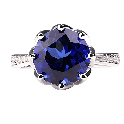 ANGG 4.8ct Round Blue Synthetic Sapphire 925 Sterling Silver Wedding Engagement Ring Jewelry for Women (Created Sapphire Lab Ring)