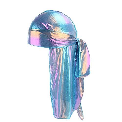 HGWXX7 Unisex Women Men Silk Satin Polyester Bandana Beanie Hat Durag Long-Tail Headwraps Gift Pirate Cap(C) -