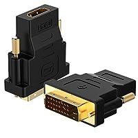 Adaptador Rankie DVI a HDMI, paquete de 2 convertidores chapados en oro 1080P macho a hembra (negro)